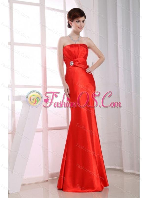 Mermaid Strapless Floor-length Taffeta Beading Red Prom Dress