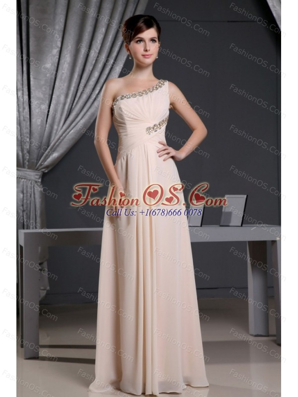 One Shoulder Baby Pink and Beading For Prom Dress