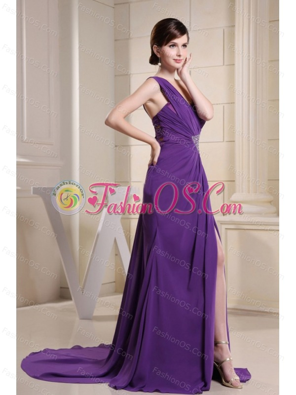 One Shoulder Beaded Decorate Waist For Prom Dress