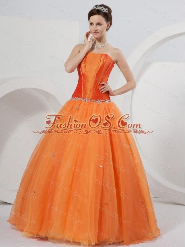 Orange A-line Strapless Floor-length Organza Beading Quinceanera Dress