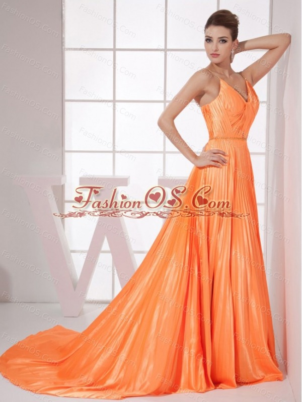 Orange Red Beading Pleat Elastic Woven Satin Brush Train 2013 Prom Dress
