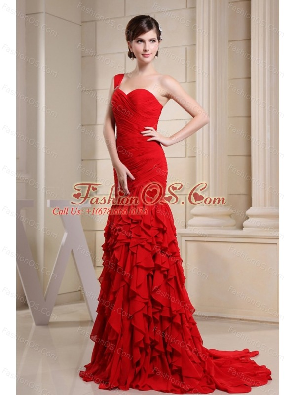 Red Prom Dress With Ruch Decorate Bodice and Ruffles