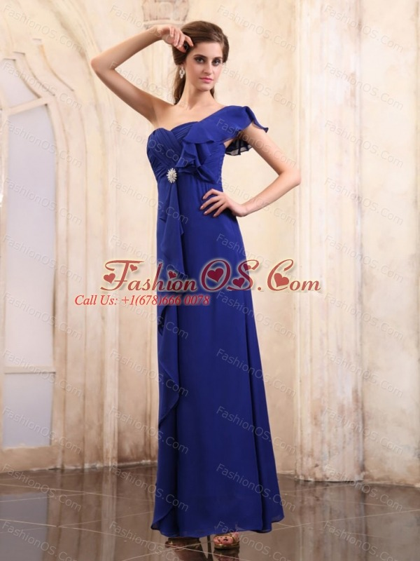 Royal Blue Mother Of The Bride Dress With One Shoulder Ankle-length Chiffon