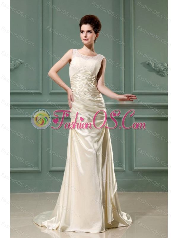 Scoop Column Champagne Taffeta Brush Wedding Dress