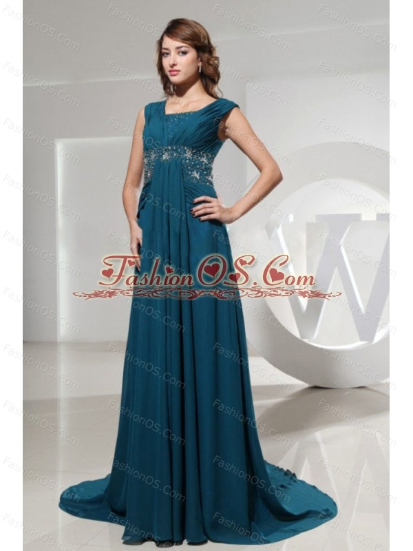 Square Blue Prom Dress With Beading and Brush Train