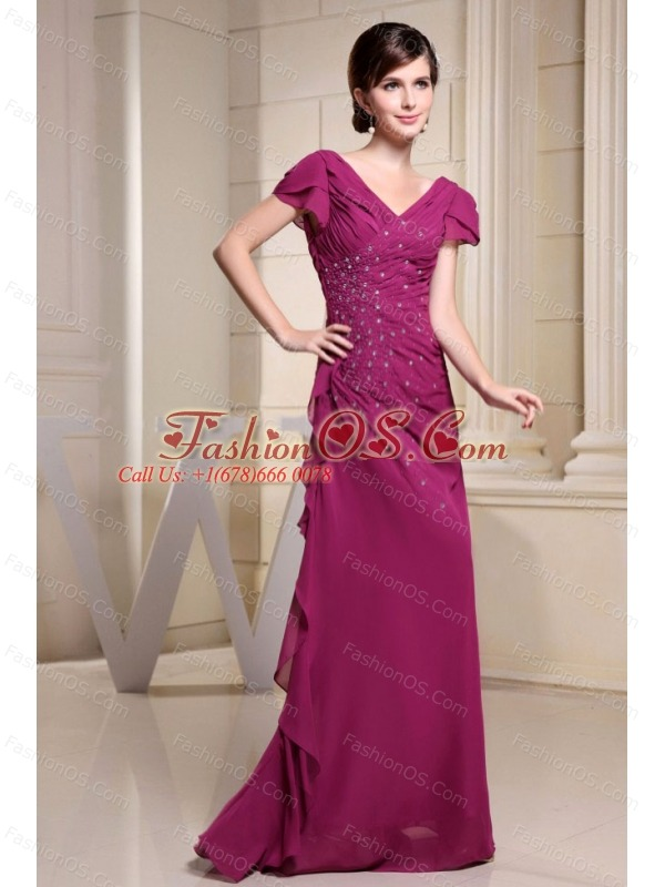 V-neck and Short Sleeves For Mother Of The Bride Dress With Beading