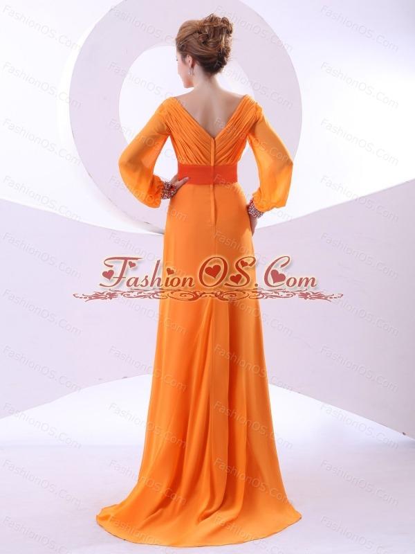 V-neck Beading and Ruching Decorate Bodice Long Sleeves Orange Chiffon Brush Train 2013 Mother Of The Bride Dress