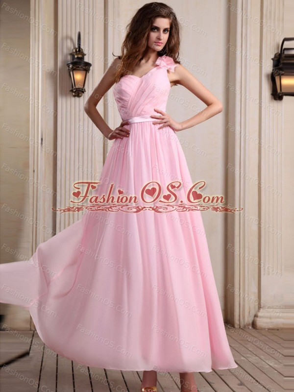 Baby Pink One Shoulder Prom Dress With Hand Made Flower Ankle-length ...