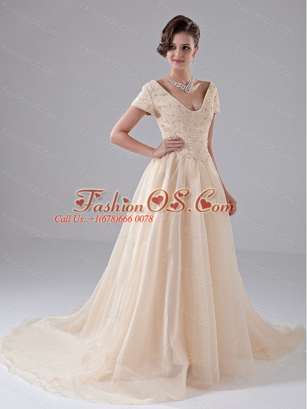 Beading A-Line V-neck Court Train Organza Church Wedding Dress