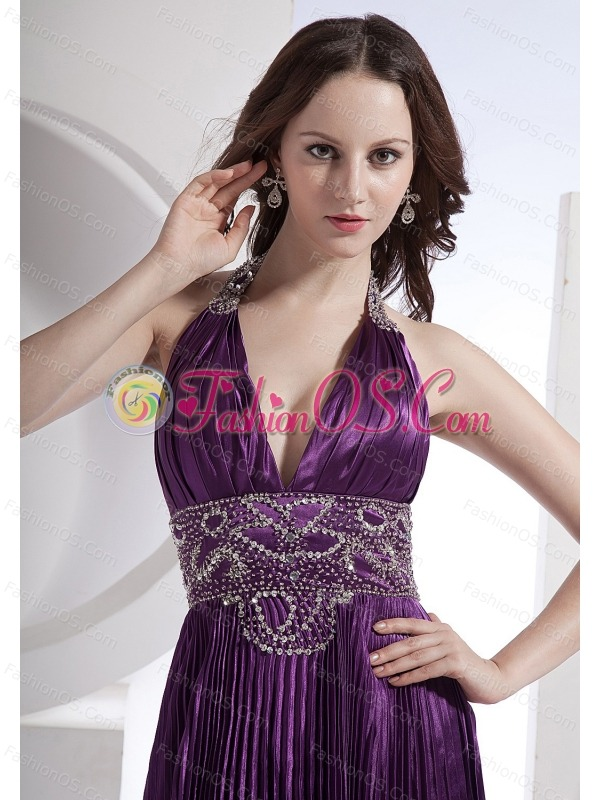 Beading Decorate Bodice Halter A-line Elastic Woven Satin Brush Train 2013 Prom Dress