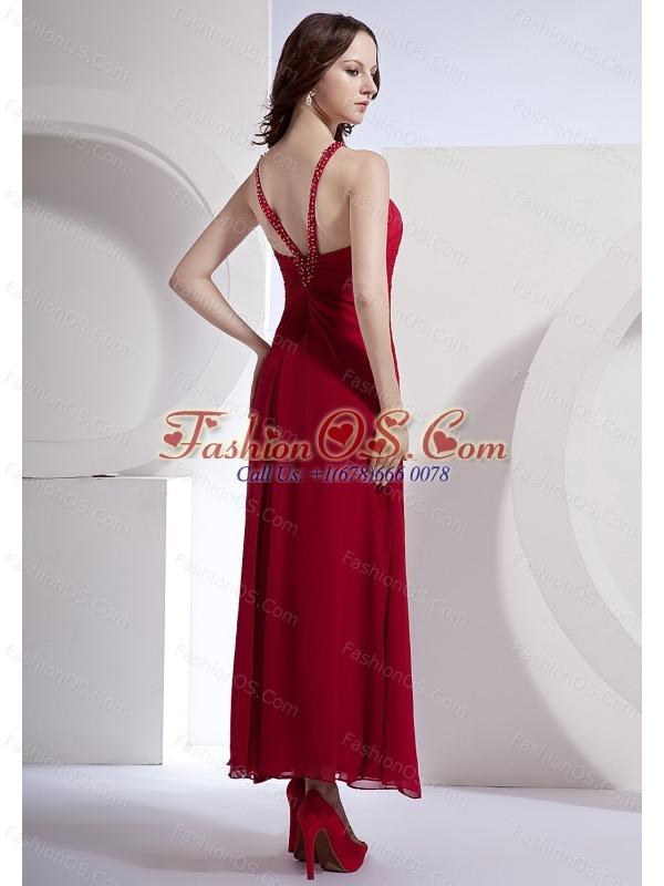 Beading Decorate Bodice High Slit Ankle-length Wine Red Chiffon 2013 Prom Dress