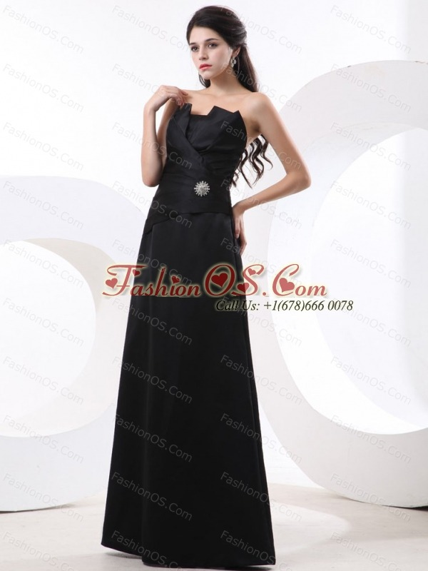 Black Prom Dress With Strapless Beading and Floor-length