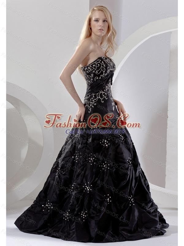 Embroidery With Beading Decorate Bodice Black Taffeta Floor-length 2013 Prom Dress