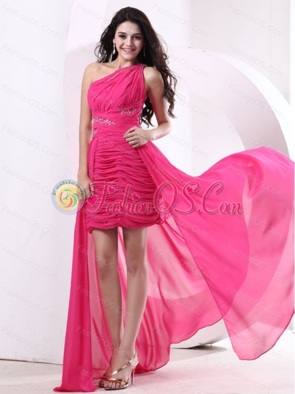 highlow hot pink prom dress with ruched bodice and beading