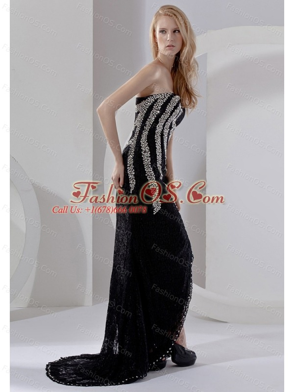 High Slit Beading Decorate Bodice Sweetheart Neckline Brush Train 2013 Prom Dress