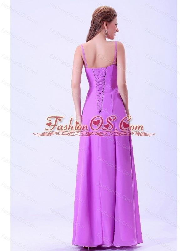 Lavender Bridemaid Dress With Spaghetti Straps Chiffon Ruffles