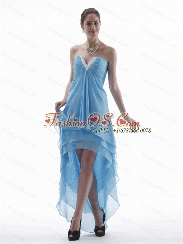 Light Blue High-low Prom Dress With V-neck Chiffon For Custom Made