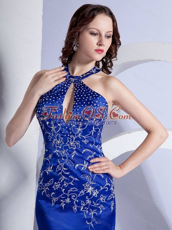 Mermaid Halter Embroidery Royal Blue Taffeta Brush / Sweep Prom Dress