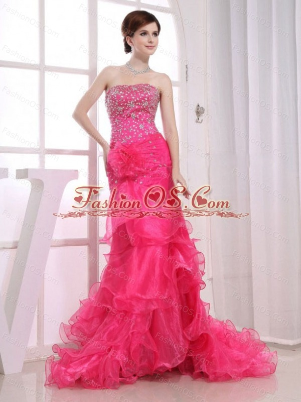 Mermaid Strapless Brush / Sweep Beading Organza Prom Dress Hot Pink