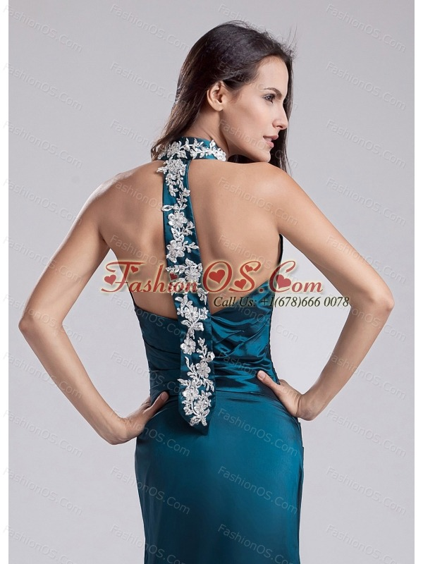 Modest Halter Turquoise Prom Dress With Appliques and Ruch With Taffeta In 2013