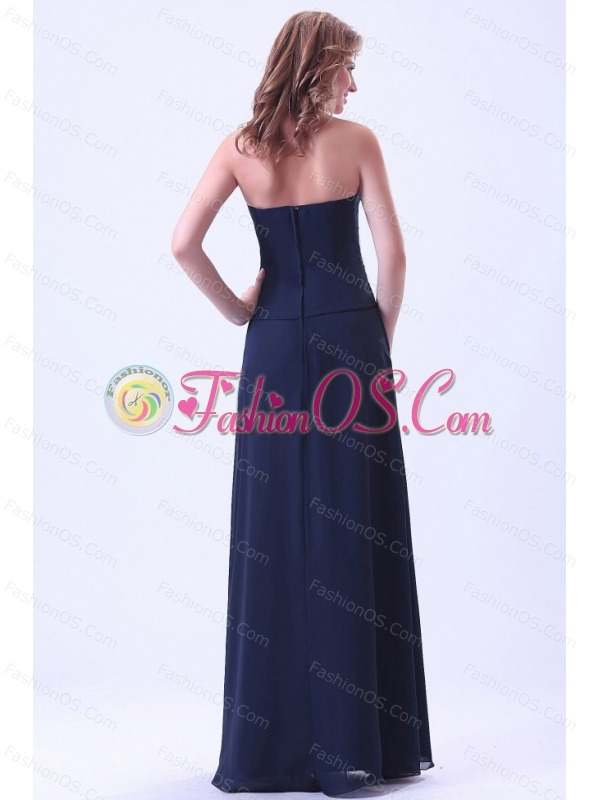 Navy Blue Strapless Bridemaid Dress Chiffon For Custom Made