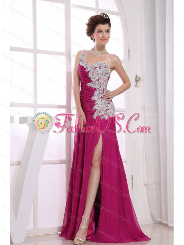 One Shoulder Appliques Chiffon Watteau Fuchsia Column Prom Dress