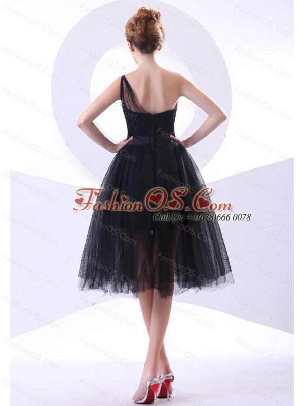 One Shoulder Black Tulle A-line Knee-length 2013 Prom Dress