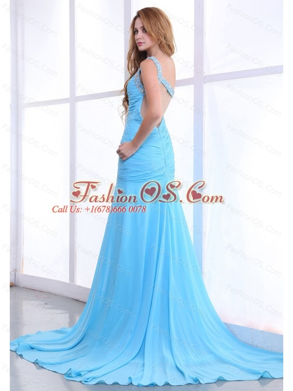 One Shoulder Decorate Bodice Ruching Light Blue Chiffon Brush Train 2013 Prom Dress
