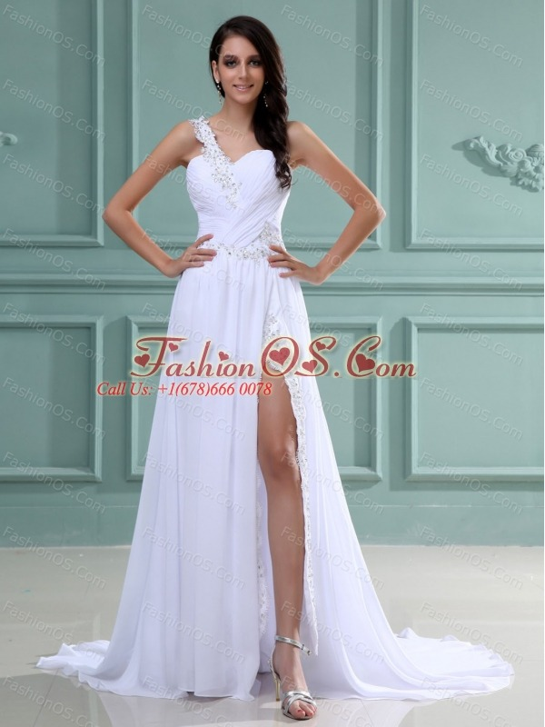 One Shoulder Prom Dress With Beading Ruch and Brush Train