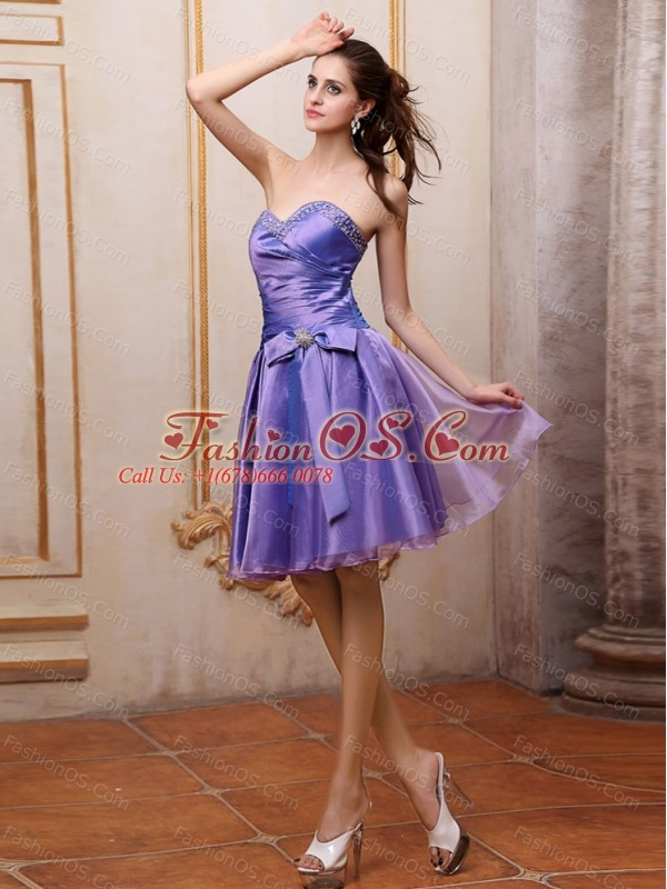 Purple Sweetheart Beaded Bowknot Knee-length Prom / Homecoming Dress For Party