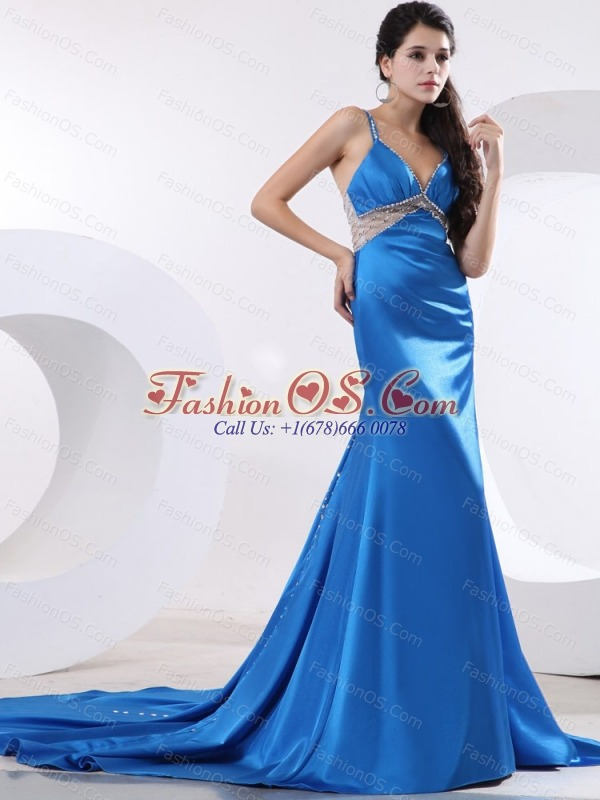 Sexy Prom / Evening Dress With Beading Brush Train Satin
