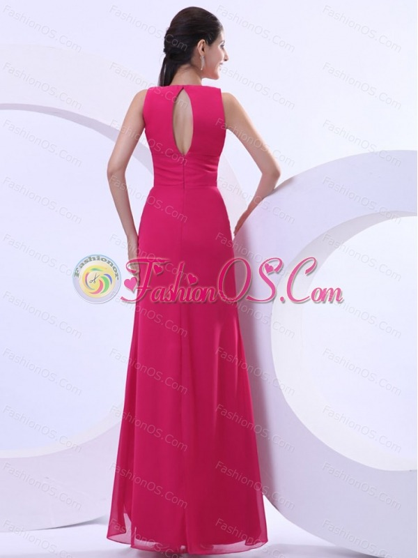 Sexy Prom Dress With Hot Pink V-neck and Ankle-length