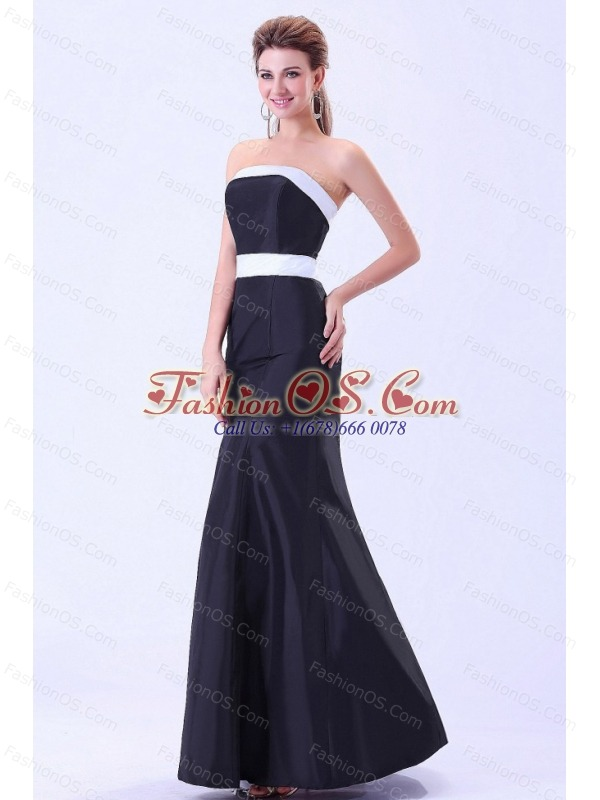 Simple bridemaid dress with white belt ankle length for Simple ankle length wedding dresses