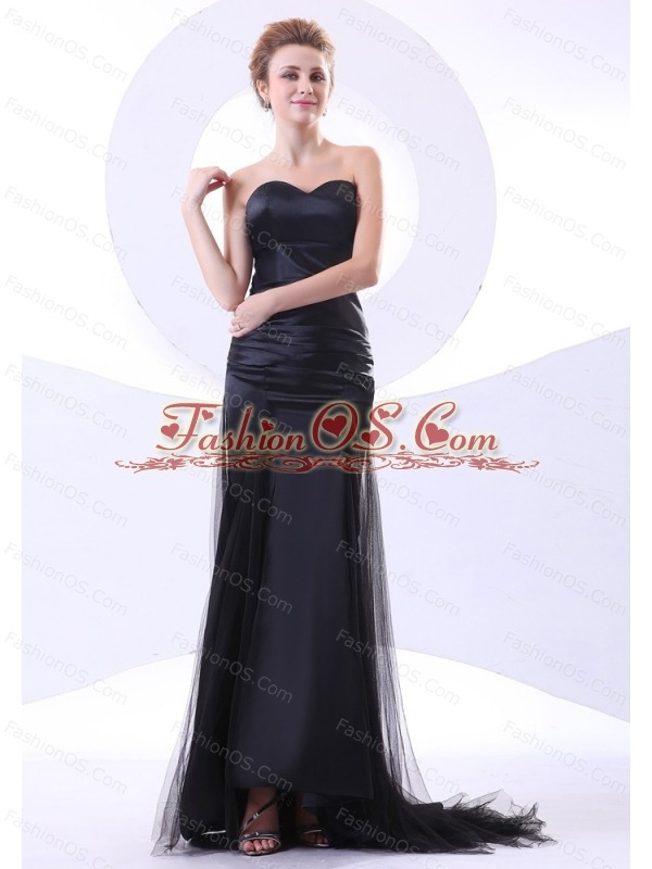 Sweetheart Neckline Column Black Tulle and Taffeta Brush Train 2013 Prom Dress
