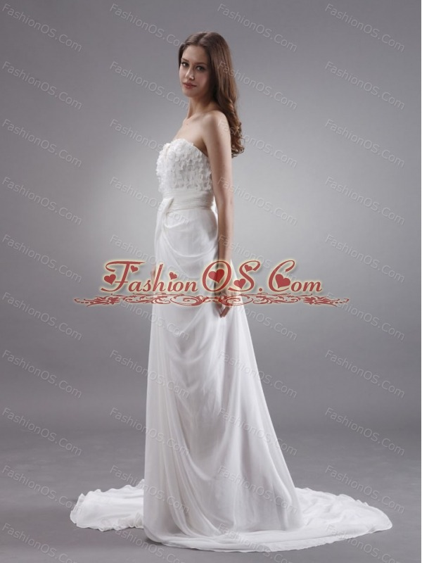 Sweetheart Wedding Dress With Hand Made Flowers  Court Train Chiffon