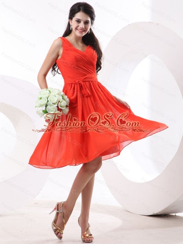 V-neck Ruch For Prom Dress With Knee-length and Chiffon
