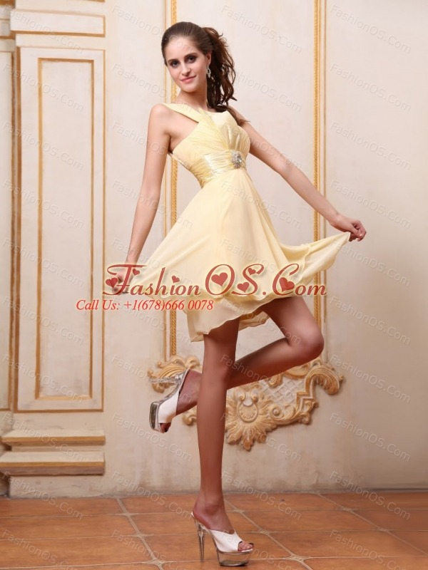 Yellow One Shoulder Prom / Homecoming Dress With Beading Mini-length Chiffon