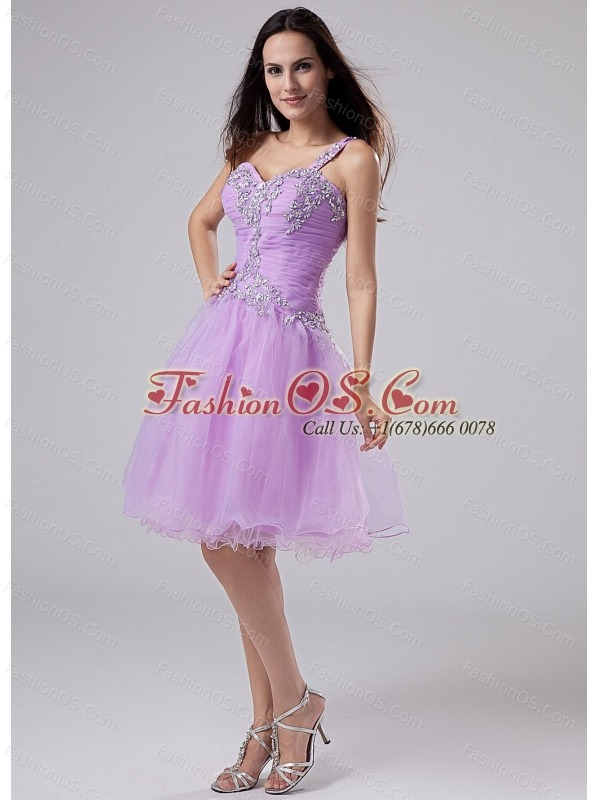 2013 Popular One Shoulder Prom Homecoming Dress Lavender Appliques and Ruched Bodeice