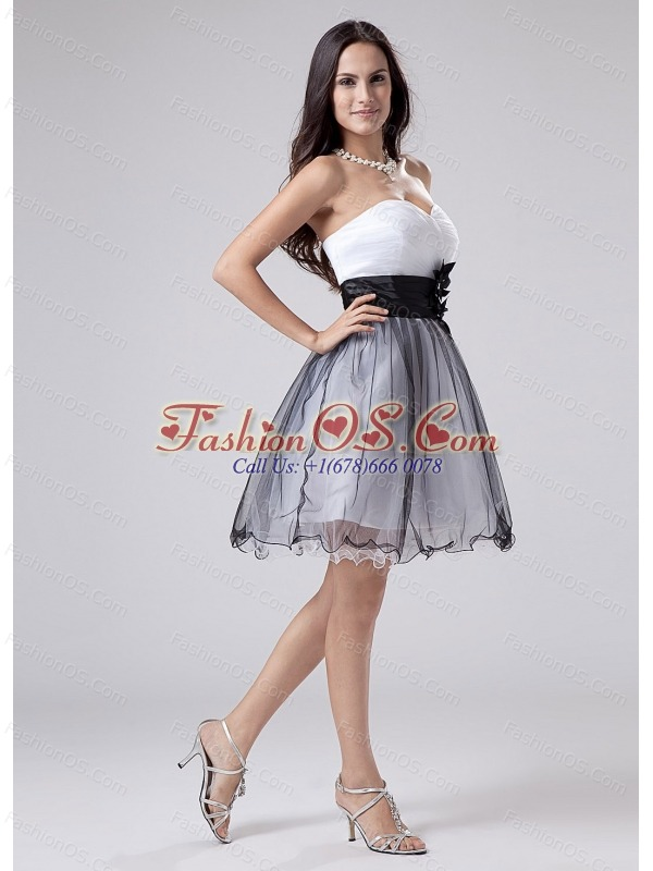 2013 Prom Dress White and Black Sweetheart With Sash and Ruch