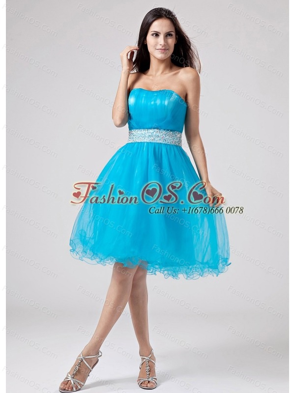 2013 Teal Strapless Prom Dress With Sash and Ruch With Organza- $118.69