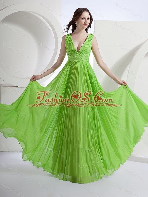 A-Line V-neck Chiffon Floor-length Pleat Prom Dress