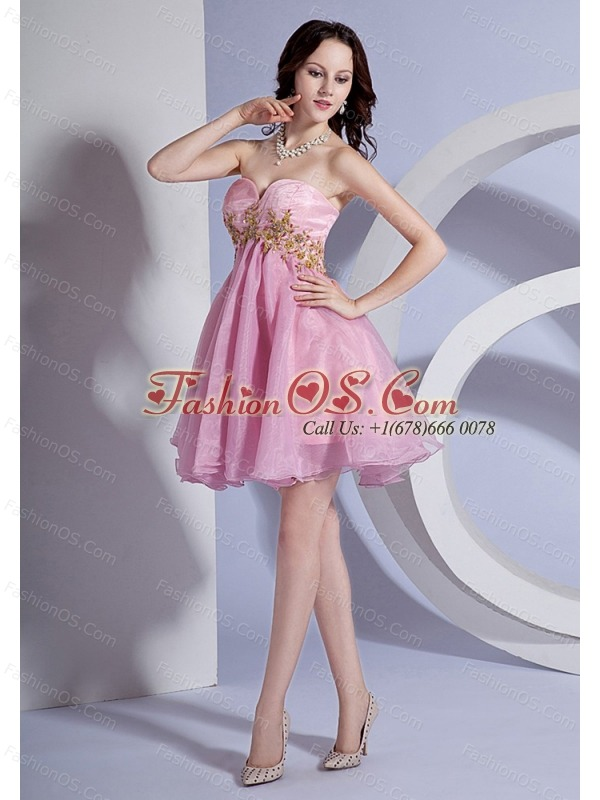Appliques Decorate Bodice Sweetheart Neckline Pink Organza Mini-length 2013 Prom Dress