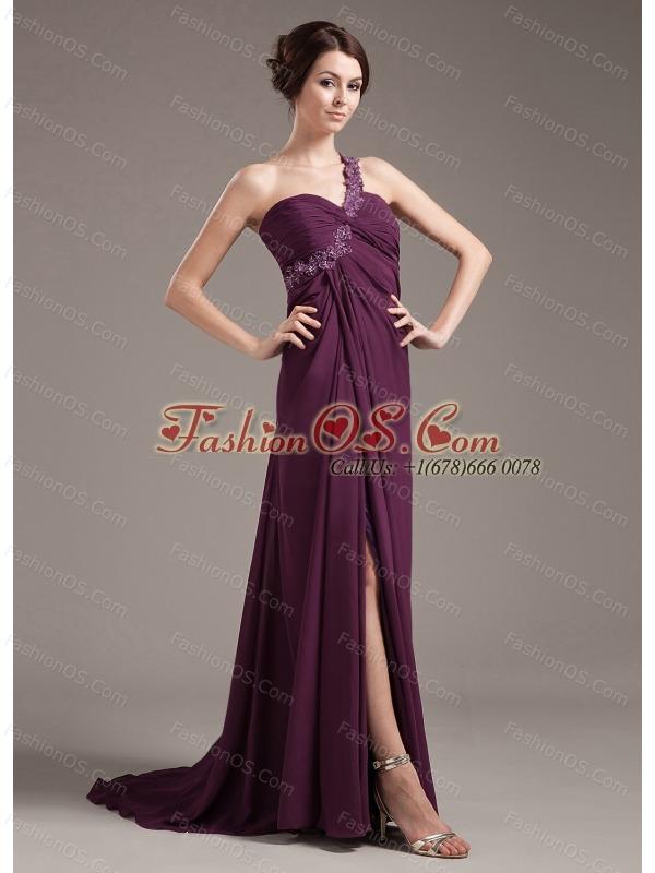 Appliques With Beading Decorate Bodice Brush Train Burgundy Chiffon 2013 Prom Dress