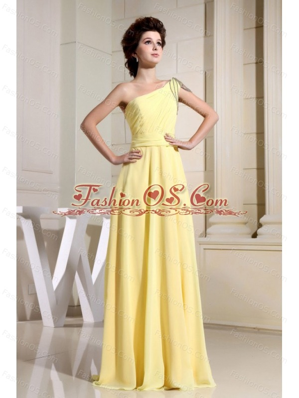 Beaded Decorate One Shoulder For Yellow Simple Prom Dress