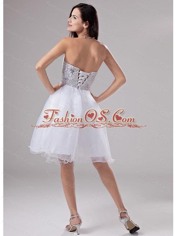Beaded Decorate Waist Knee-length Organza A-Line Sweetheart Prom Dress