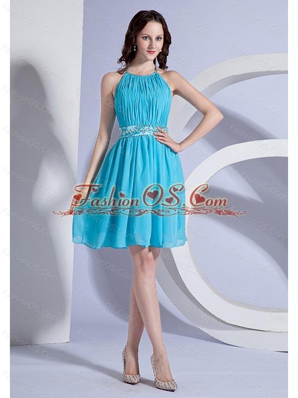 Beading and Ruching Decorate Bodice Halter Aqua Blue Chiffon Knee-length 2013 Prom Dress