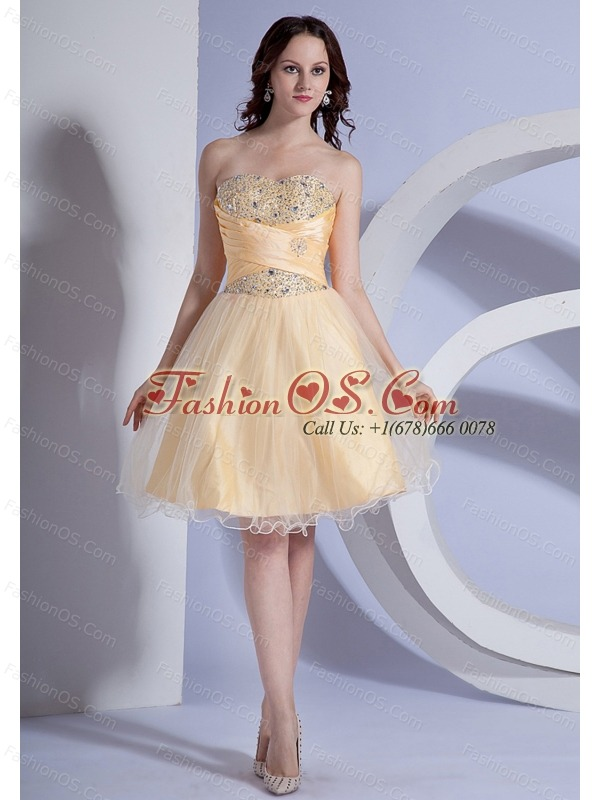 Beading Decorate Bodice A-line Light Yellow Taffeta and Organza 2013 Prom Dress