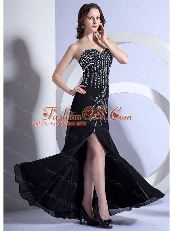 Beading Decorate Bodice High Slit Black Chiffon Floor-length Sweetheart Neckline 2013 Prom Dress