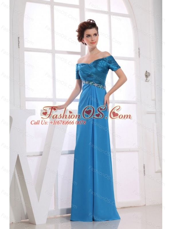 Beading Decorate Bodice Off The Shoulder Blue Chiffon and Taffeta 2013 Prom Dress Floor-length