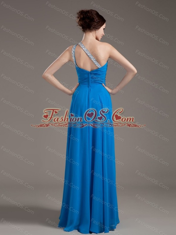 Beading Decorate Bodice One Shoulder Blue Chiffon 2013 Prom Dress Floor-length